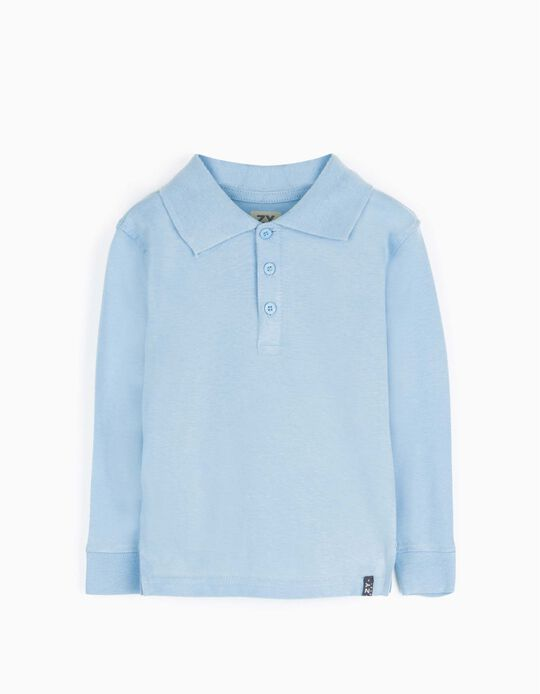 Long-sleeve Polo Shirt for Baby Boys, Light Blue