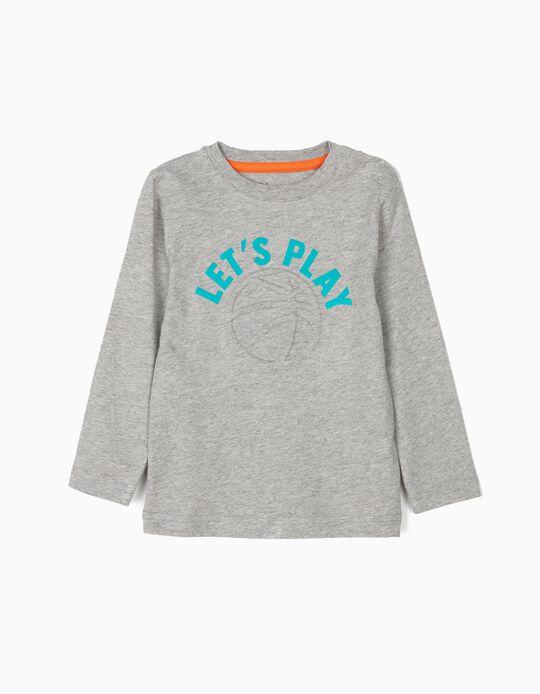 T-shirt Manga Comprida para Bebé Menino 'Let's Play', Cinza
