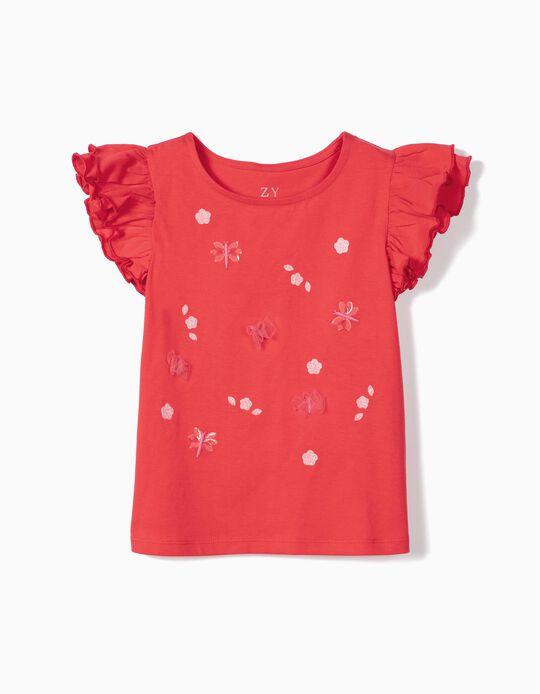 T-shirt para Menina 'Butterflies', Vermelho