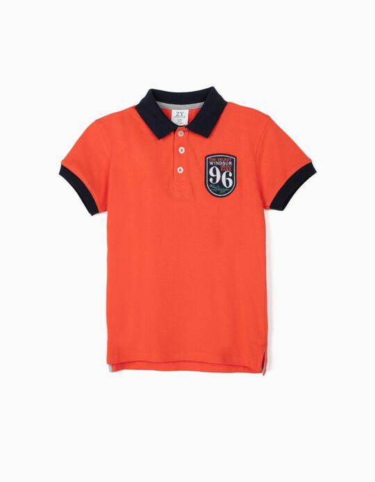 Piqué Knit Polo Shirt for Boys, '96', Coral/Dark Blue