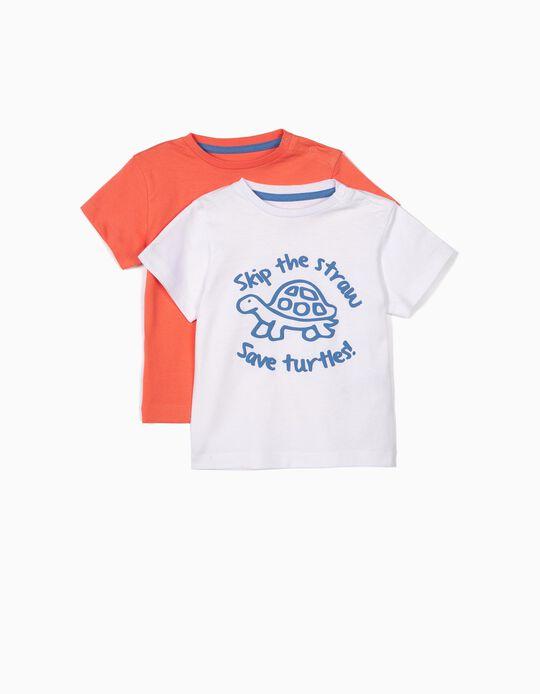 2 T-shirts para Bebé Menino 'Save Turtles', Branco e Laranja