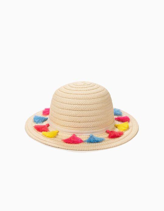 Sombrero de Paja para Niña con Borlas a Color, Beige