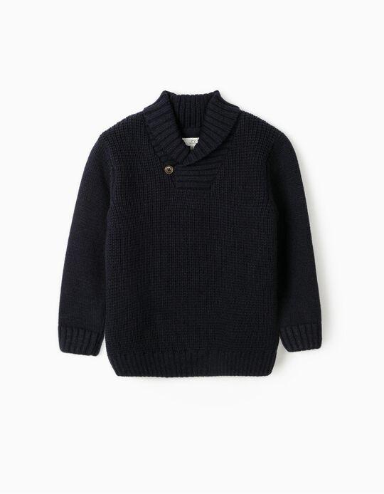 Camisola de Malha com Gola Xale para Menino, Azul Escuro