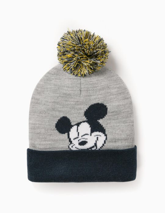 Gorro de Malha para Menino 'Mickey', Cinza/Azul Escuro