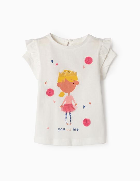 Camiseta para Bebé Niña 'You and Me', Blanca