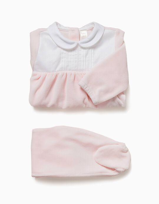 Pijama Veludo Combinado Rosa