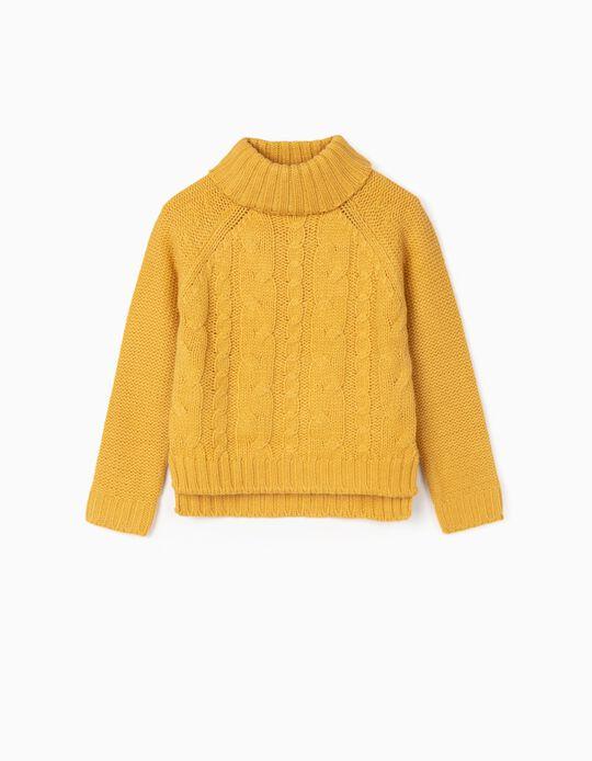Camisola de Malha Grossa para Menina, Amarelo