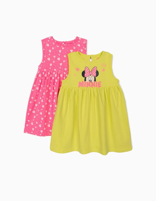 2 Jersey Knit Dresses for Baby Girls, 'Minnie Mouse', Pink/Lime Yellow