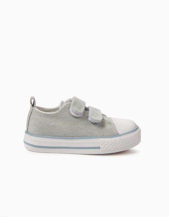 Sapatilhas para Bebé '50's Sneaker' Brilho com Velcro, Azul Claro