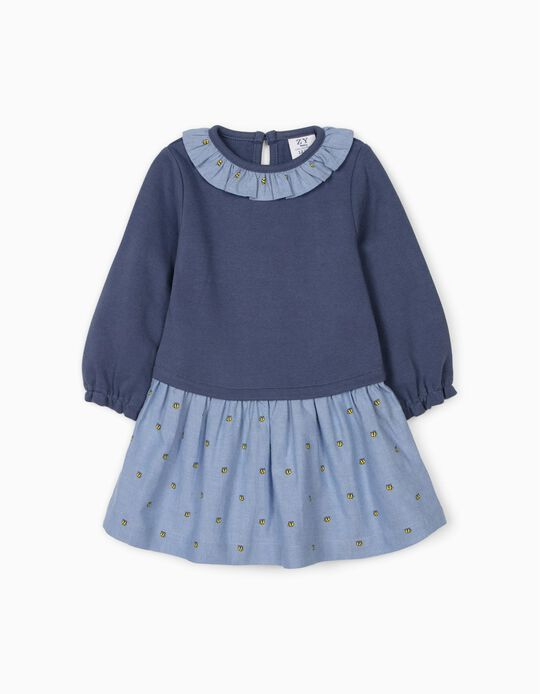 Dual Fabric Dress for Baby Girls, 'Bees', Blue