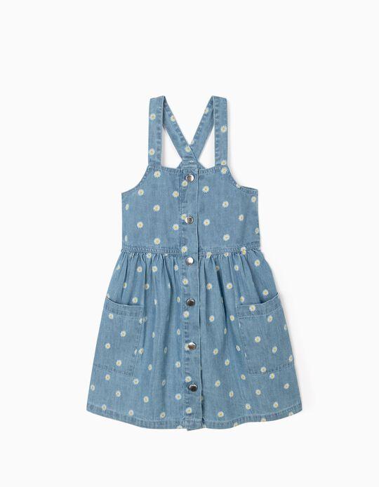 Vestido Denim para Menina 'Flowers', Azul