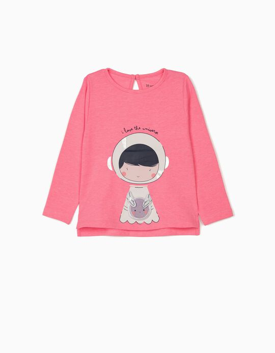 Long Sleeve Top for Baby Girls 'Universe', Pink