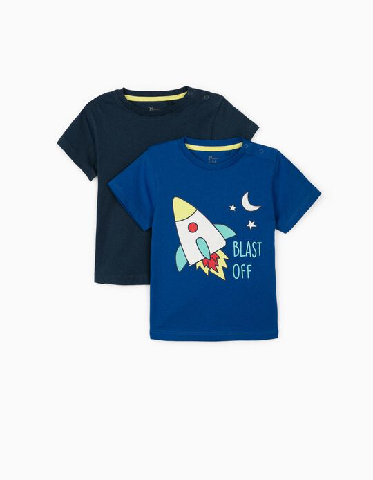 2 Camisetas para Bebé Niño 'Blast Off', Azul/Azul Oscuro