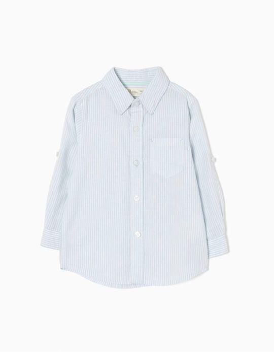 Camisa de Lino Rayas Azules