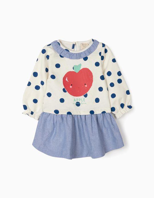 Vestido de Dos Materias para Bebé Niña 'Apple', Blanco/Azul