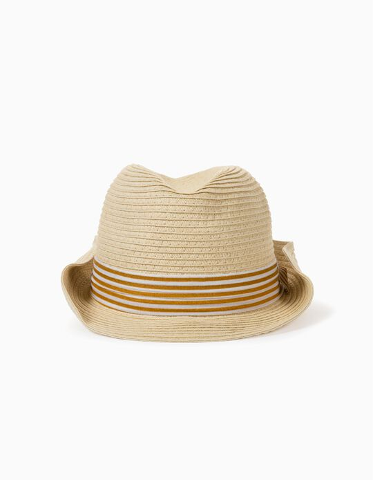 Straw Hat for Girls, Beige