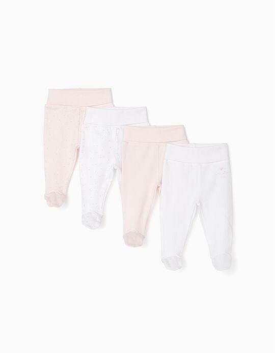 4 Pantalones con Pies para Recién Nacida, Blanco/Rosa