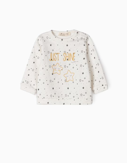 Sweat nouveau-née 'Just Shine', blanc