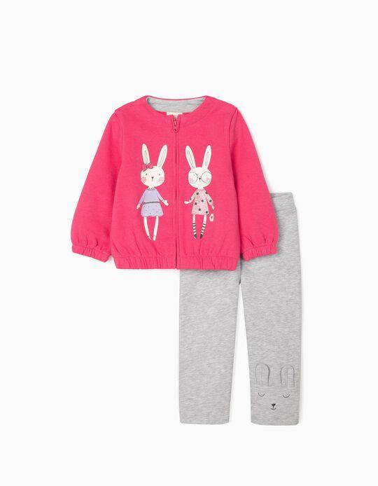 Fato de Treino para Bebé Menina 'Cute Bunny', Rosa/Cinza