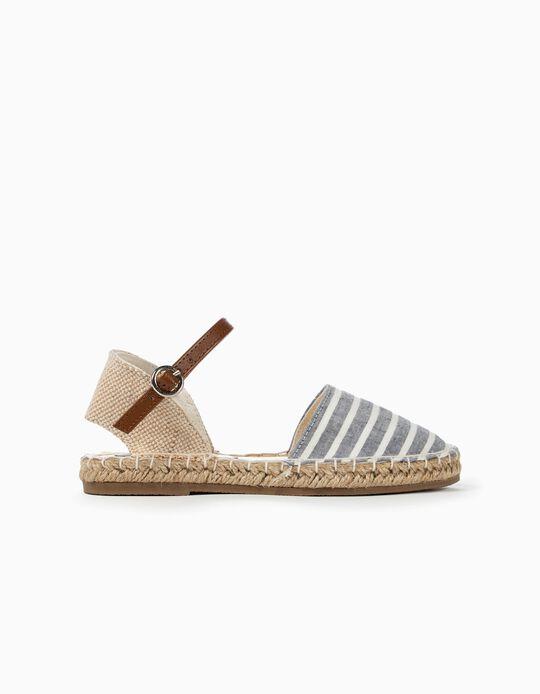 Sandalias para Niña 'Yute & Rayas', Azul