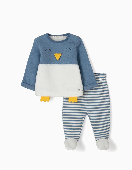Fato de Treino para Recém-Nascido 'Cute Penguin', Azul/Branco