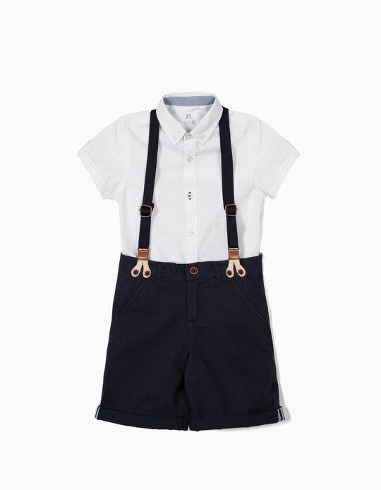 Camisa e Calções para Menino, Branco e Azul Escuro