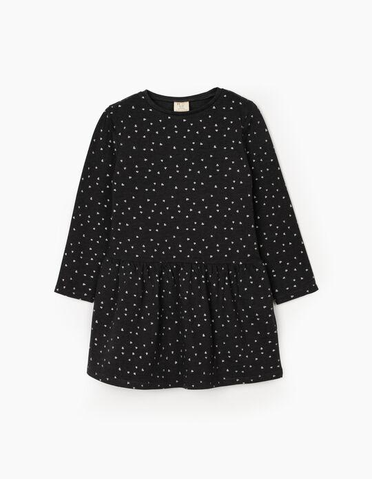 Vestido para Menina 'Hearts', Cinza Escuro