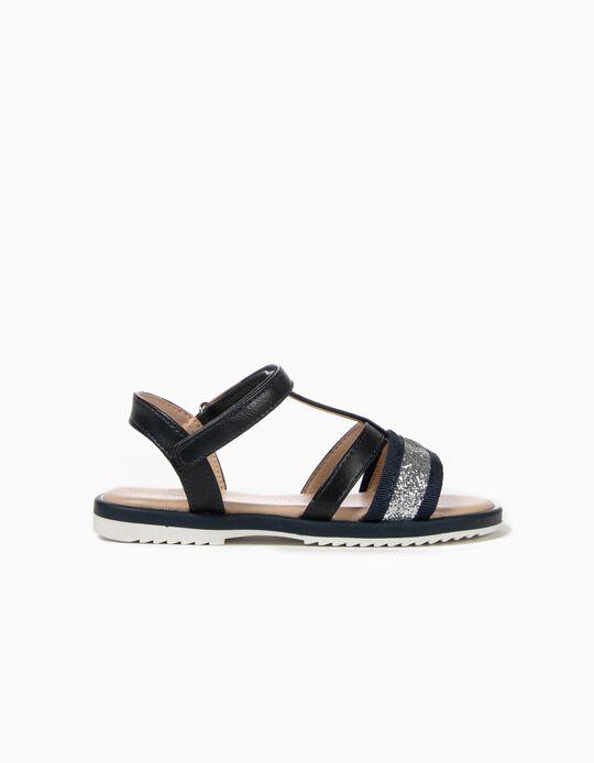 Sandálias para Menina com Brilhantes, Azul Escuro