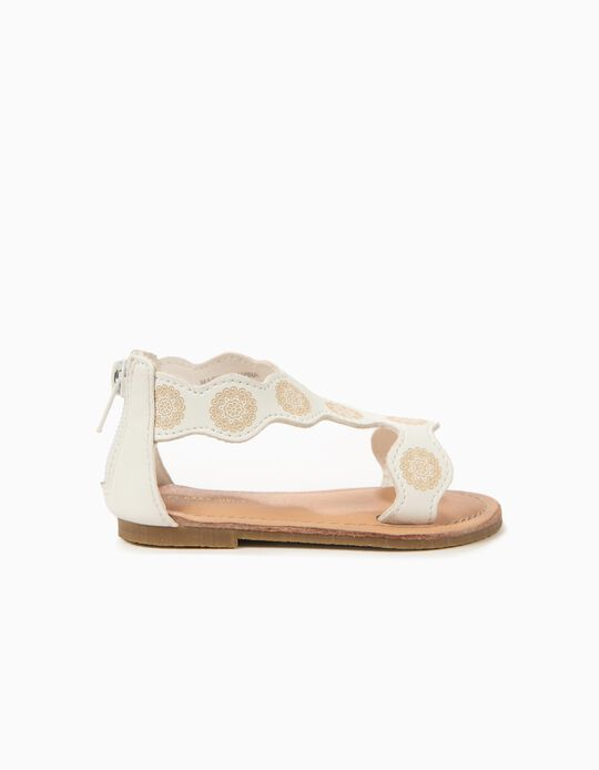 Sandálias para Bebé Menina com Flores, Branco