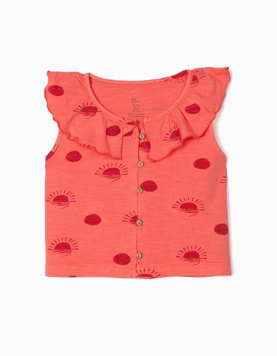 Organic Cotton Top for Girls, 'Sun', Pink