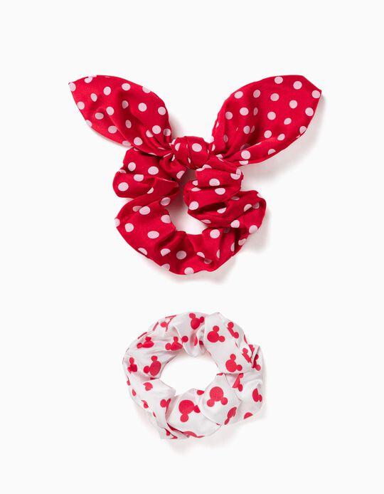 2 Elásticos Scrunchies para Menina 'Minnie', Branco/Vermelho