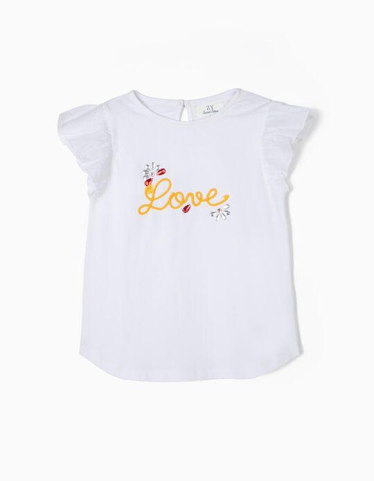T-shirt para Menina 'Love' com Folhos, Branco
