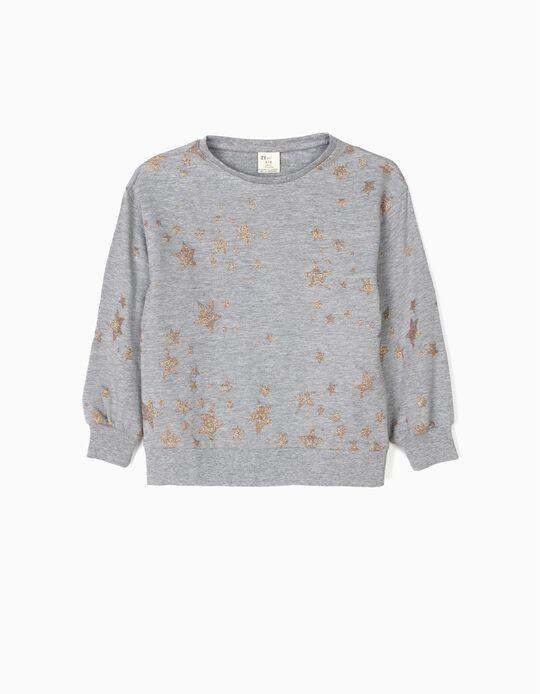 Sweatshirt Cinzenta com Estrelas Brilhantes