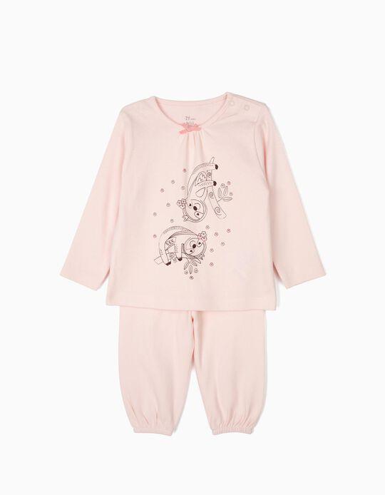 Pijama para Bebé Niña 'Flower Sloth', Rosa
