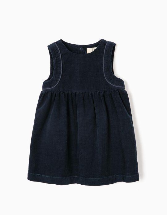 Corduroy Dress for Newborn Girls, Dark Blue