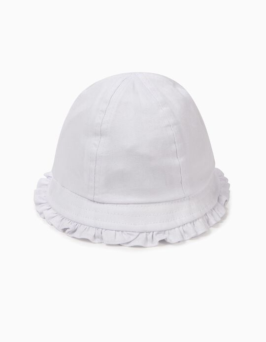 Chapéu para Bebé Menina com Folhos, Branco