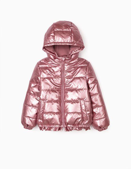 Padded Jacket for Girls, Metallic Pink