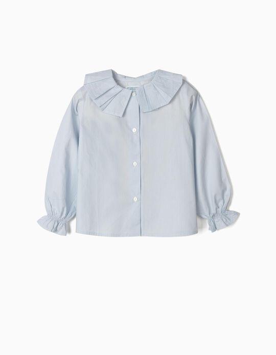 Blusa para Niña 'B&S' Rayas y Volantes, Azul