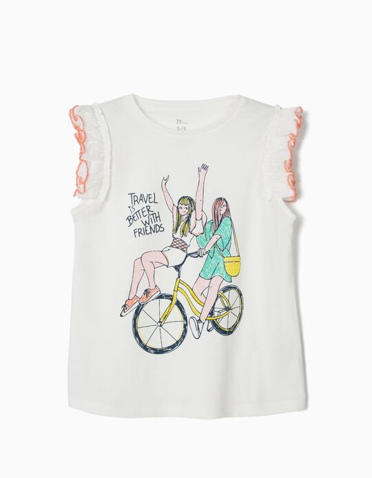 T-shirt 'Travel With Friends' fille, blanc