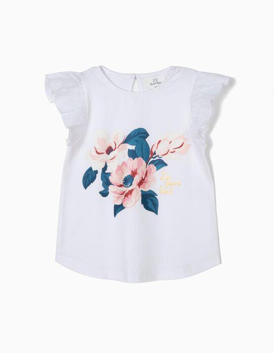 Camiseta para Niña 'Flowers' con Volantes, Blanca