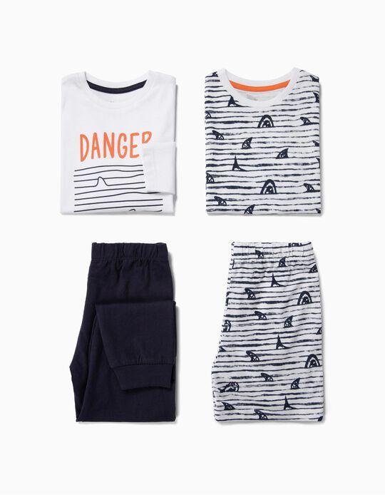2 Pijamas para Menino 'Sharks', Branco e Azul