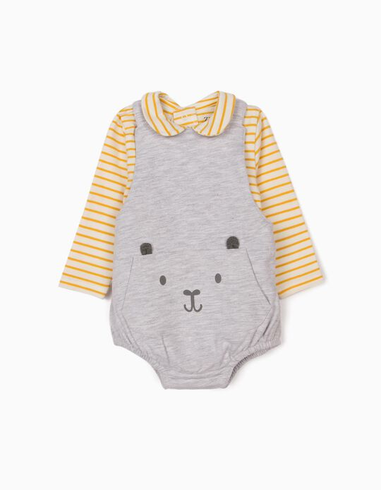Jumpsuit and Bodysuit for Newborn Baby Boys, Grey/Yellow/White