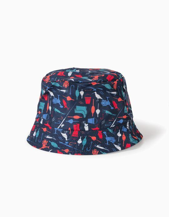 Reversible Hat for Boys, 'Fishing', Dark Blue