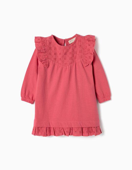 Vestido para Bebé Menina com Folhos e Bordados, Rosa
