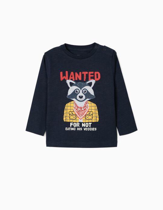 T-shirt Manga Comprida para Bebé Menino 'Wanted', Azul Escuro