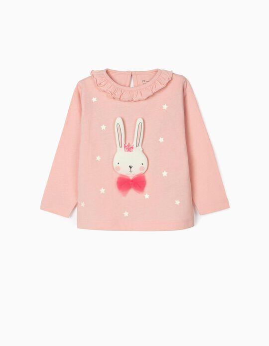 T-shirt Manga Comprida Algodão Orgânico para Bebé Menina, Rosa