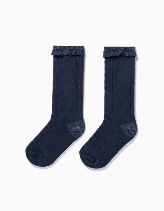 Textured Knee High Socks for Girls, Dark Blue