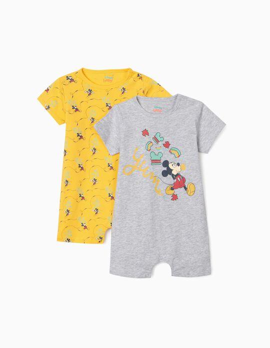 2 grenouillères bébé garçon 'Mickey Mouse', gris/jaune
