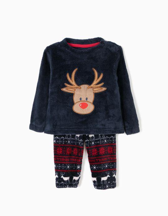 Pijama Camisola e Calças Rena Natal Azul