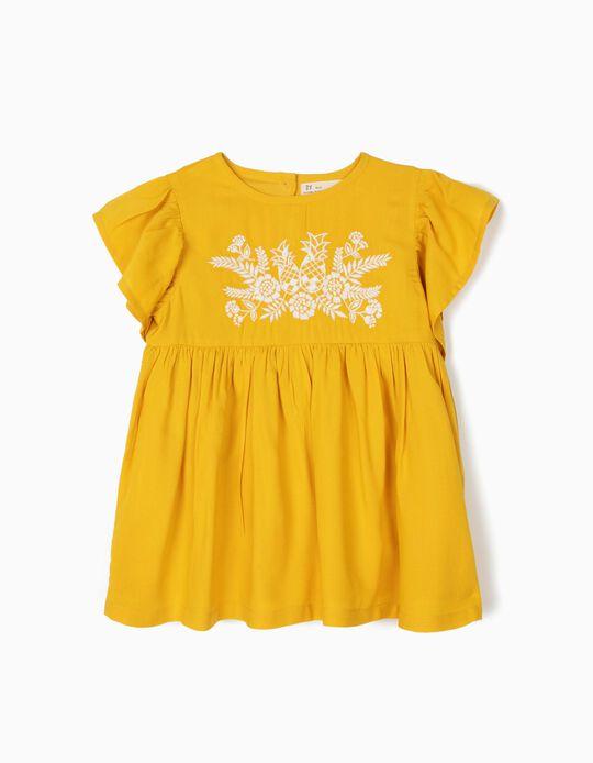 Blusa para Niña con Bordados, Amarillo